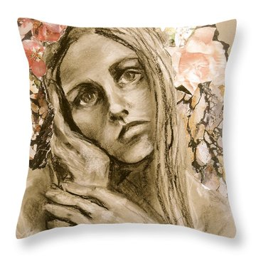 Throw Pillow featuring the drawing Within by Mary Schiros