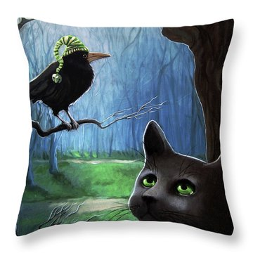 Wit's End - Winter Nightime Forest Throw Pillow
