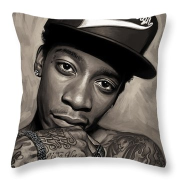 Throw Pillow featuring the painting Wiz Khalifa Artwork  by Sheraz A