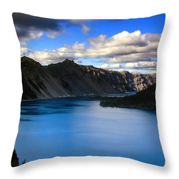 Wizard Island Stormy Sky- Crater Lake Throw Pillow