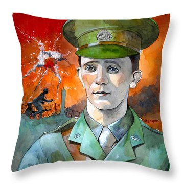 Throw Pillow featuring the painting W.j. Symons Vc by Ray Agius