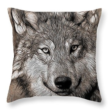 Throw Pillow featuring the digital art Wolf  by Aaron Berg