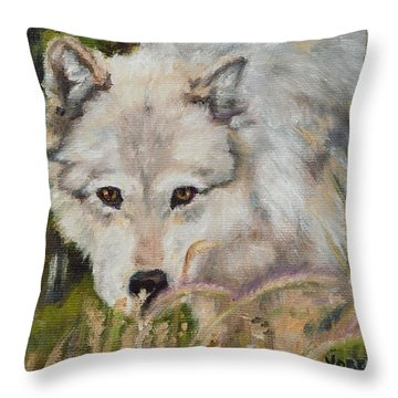 Wolf Among Foxtails Throw Pillow