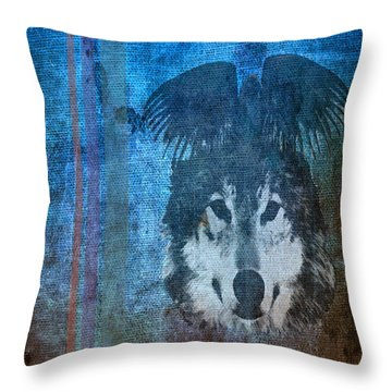 Wolf And Raven Throw Pillow