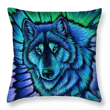 Wolf Aurora Throw Pillow