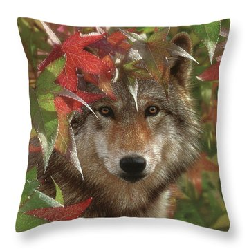 Wolf - Autumn Encounter Throw Pillow
