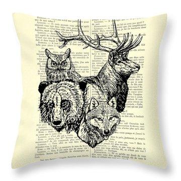 Wolf, Bear, Deer, Owl Wildlife Animals Black And White Throw Pillow