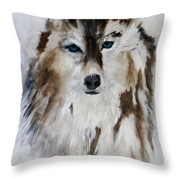 Wolf - Blue Star Throw Pillow
