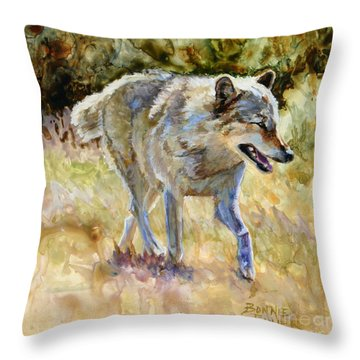 Throw Pillow featuring the painting Wolf by Bonnie Rinier