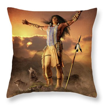 Throw Pillow featuring the mixed media Wolf Clan by Shanina Conway