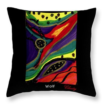 Throw Pillow featuring the painting Wolf by Clarity Artists