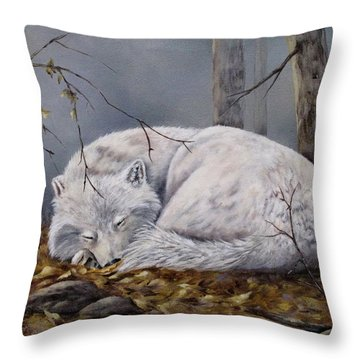 Throw Pillow featuring the painting Wolf Dreams by Mary McCullah