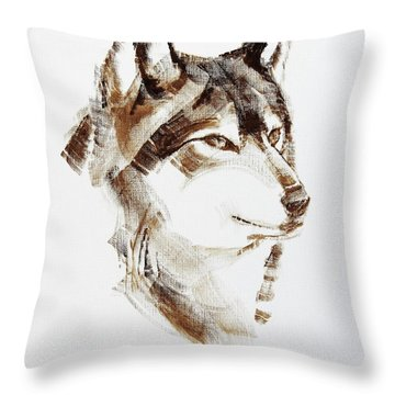 Wolf Head Brush Drawing Throw Pillow