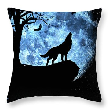 Wolf Howling At Full Moon With Bats Throw Pillow by Justin Kelefas