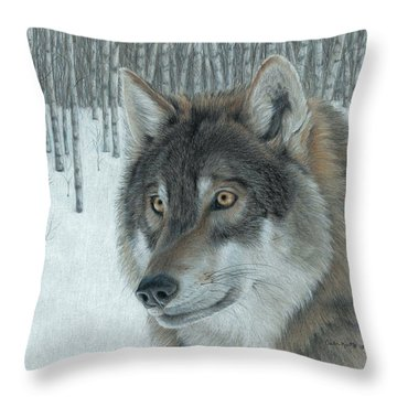 Wolf In Aspens Throw Pillow