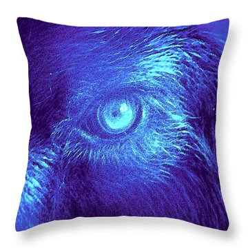 Throw Pillow featuring the painting Wolf In Blue by David Mckinney
