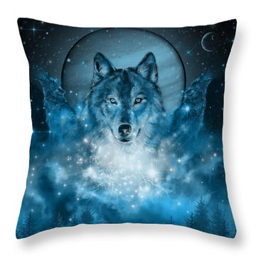 Wolf In Blue Throw Pillow by Bekim Art