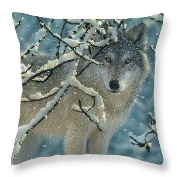 Wolf In Snow - Broken Silence Throw Pillow