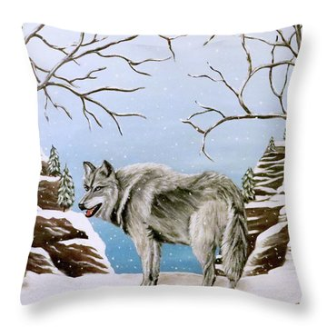Throw Pillow featuring the painting Wolf In Winter by Teresa Wing