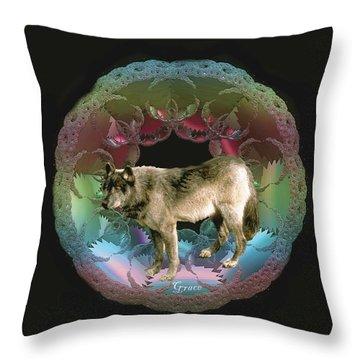 Wolf Throw Pillow by Julie Grace