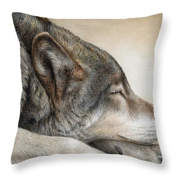 Wolf Nap Throw Pillow
