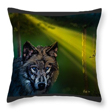 Wolf Of The Dark Wood Throw Pillow