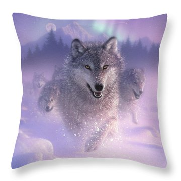 Wolf Pack Running - Northern Lights Throw Pillow