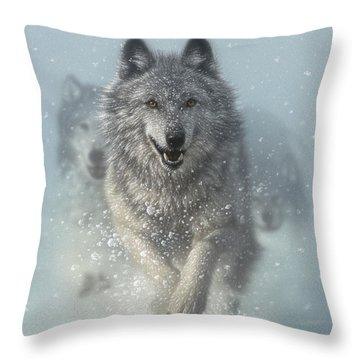 Wolf Pack Running - Snow Plow Throw Pillow