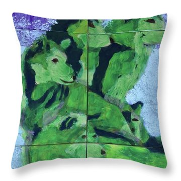 Throw Pillow featuring the painting Green Pack Of Wolves by Donald J Ryker III