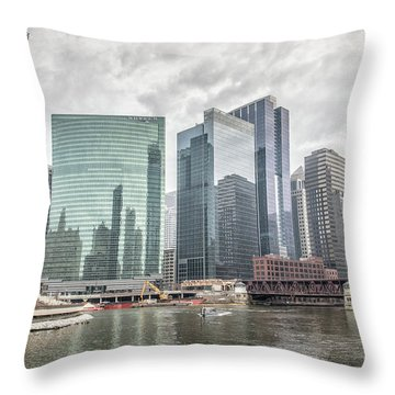 Wolf Point Where The Chicago River Splits Throw Pillow by Peter Ciro