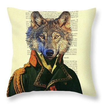 Wolf Portrait Illustration Throw Pillow