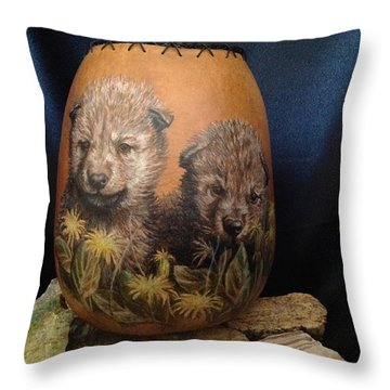 Wolf Pups  #go74 Throw Pillow