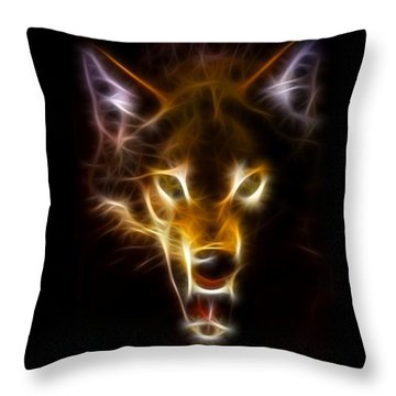 Wolf Ready To Attack Throw Pillow by Pamela Johnson