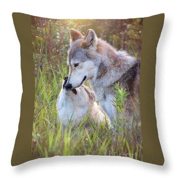 Wolf Soul Mates Throw Pillow