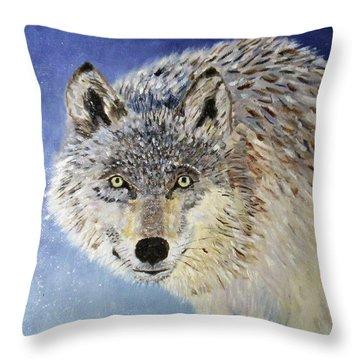 Wolf Study Throw Pillow
