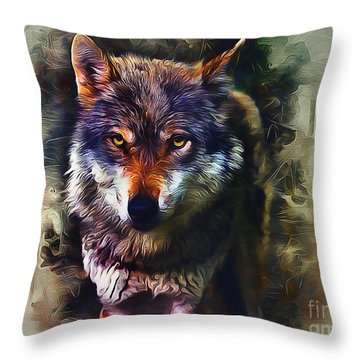 Wolf Timber Throw Pillow
