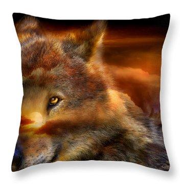 Wolfland Throw Pillow by Carol Cavalaris