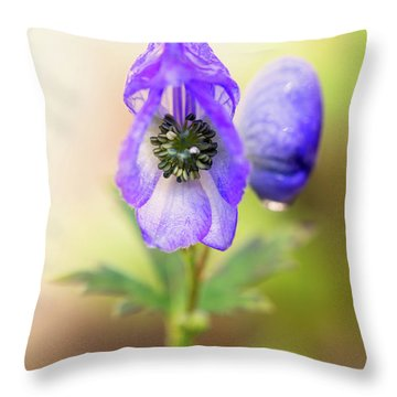 Throw Pillow featuring the photograph Wolf's Bane Flower Plant by Nick Biemans