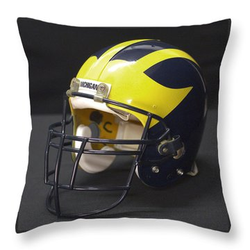 Throw Pillow featuring the photograph Wolverine Helmet From The 1990s by Michigan Helmet