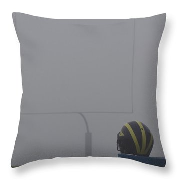 Wolverine Helmet In Heavy Morning Fog Throw Pillow