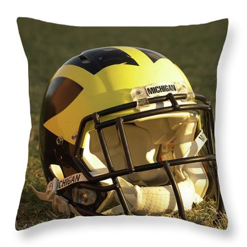 Throw Pillow featuring the photograph Wolverine Helmet In Morning Sunlight by Michigan Helmet