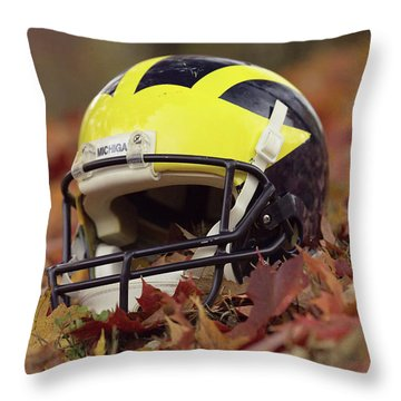 Throw Pillow featuring the photograph Wolverine Helmet In October Leaves by Michigan Helmet