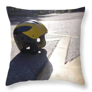 Wolverine Helmet On The Diag Throw Pillow