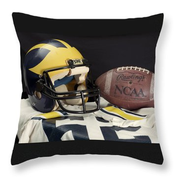 Wolverine Helmet With Jersey And Football Throw Pillow