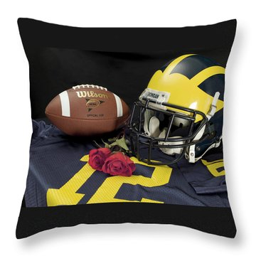 Wolverine Helmet With Roses, Jersey, And Football Throw Pillow