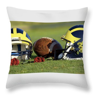 Throw Pillow featuring the photograph Wolverine Helmets And Roses by Michigan Helmet