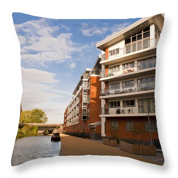 Throw Pillow featuring the photograph Wolverton Park Canalside Flats by David Isaacson