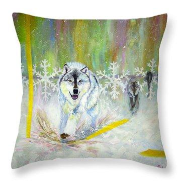 Wolves Approach Throw Pillow