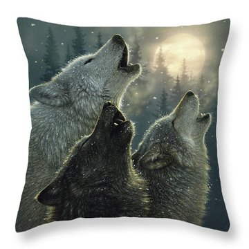 Wolves Howling Moon - In Harmony Throw Pillow
