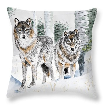 Wolves In The Birch Trees  Throw Pillow